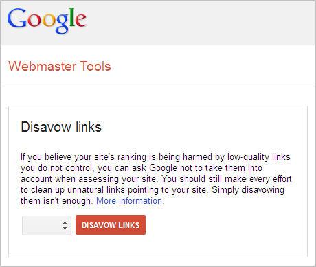google webmaster tool - disavow links