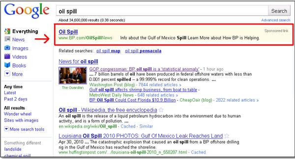 oil spill - online reputation management