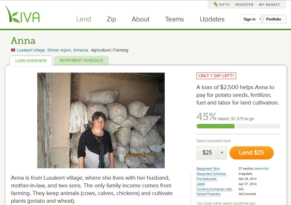 kiva donations