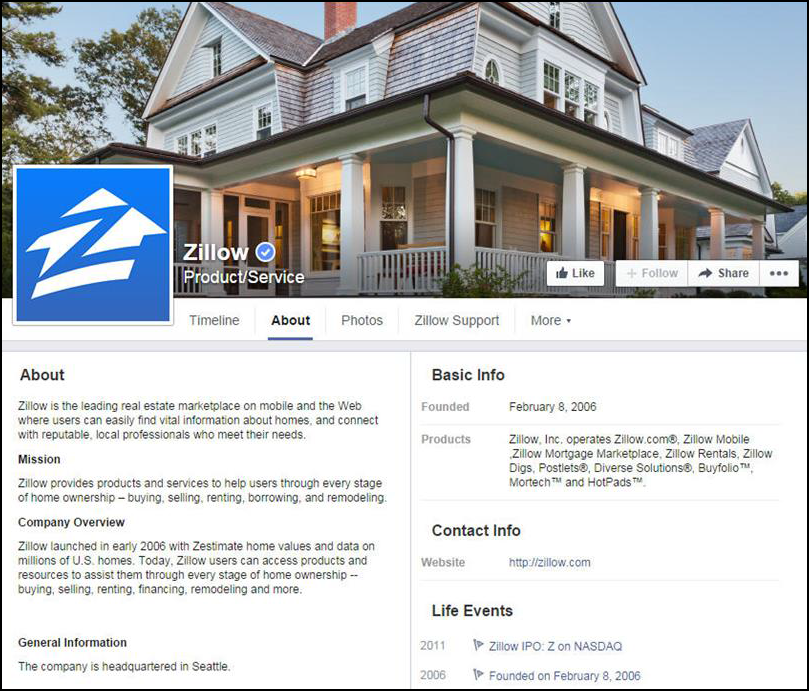 ZillowfacebookProfile