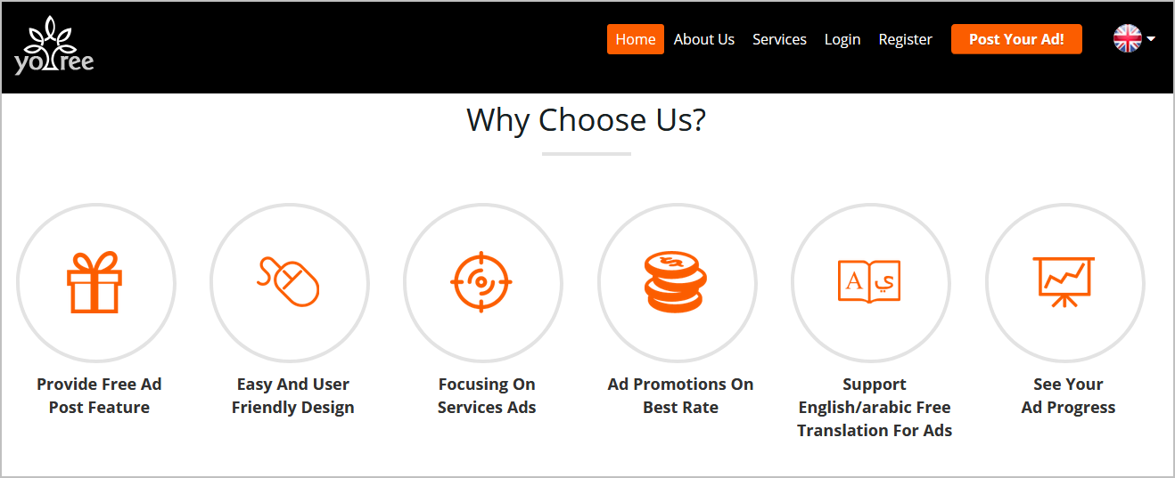 Classified portal homepage