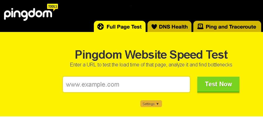 pingdom website speed testing