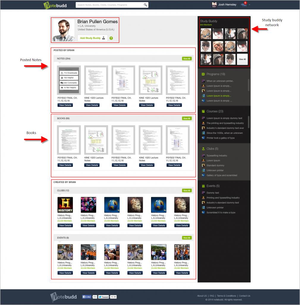 Notebudd Public User profile