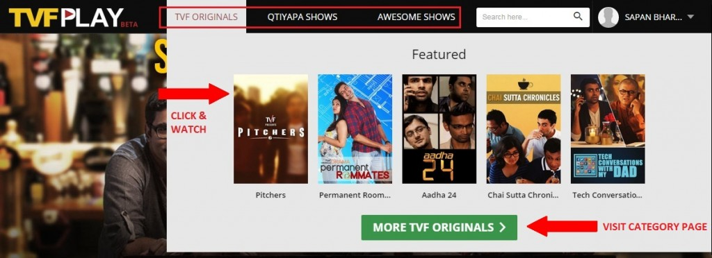 TVFplay Top Navigation DropDown