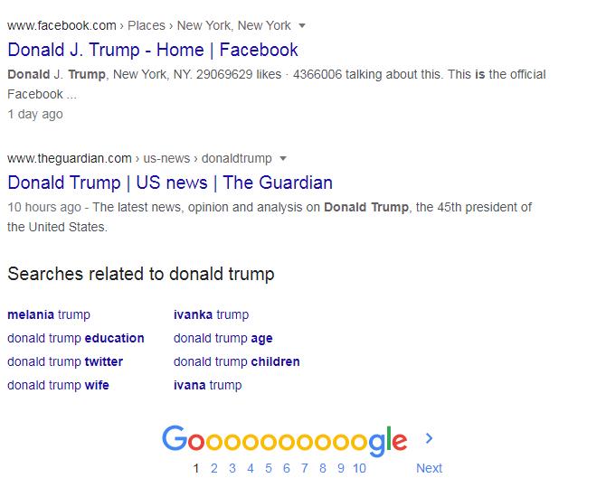 Search results Donald trump