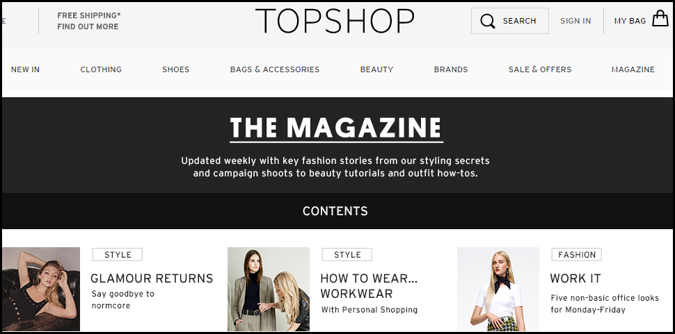 Fashion store website engagement