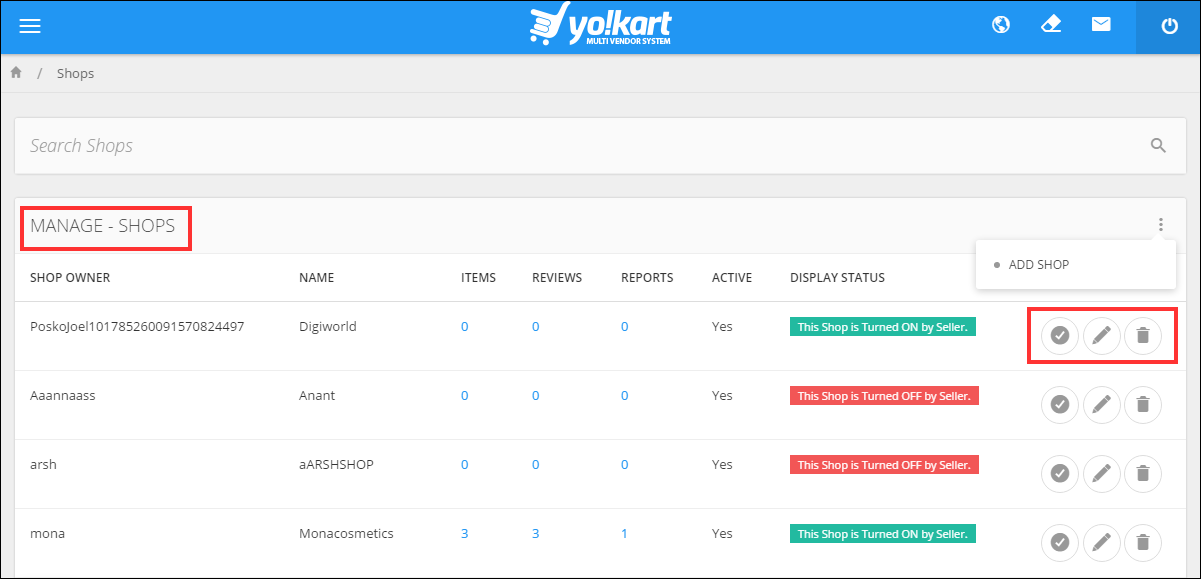 Yokart multi-vendor system shop management