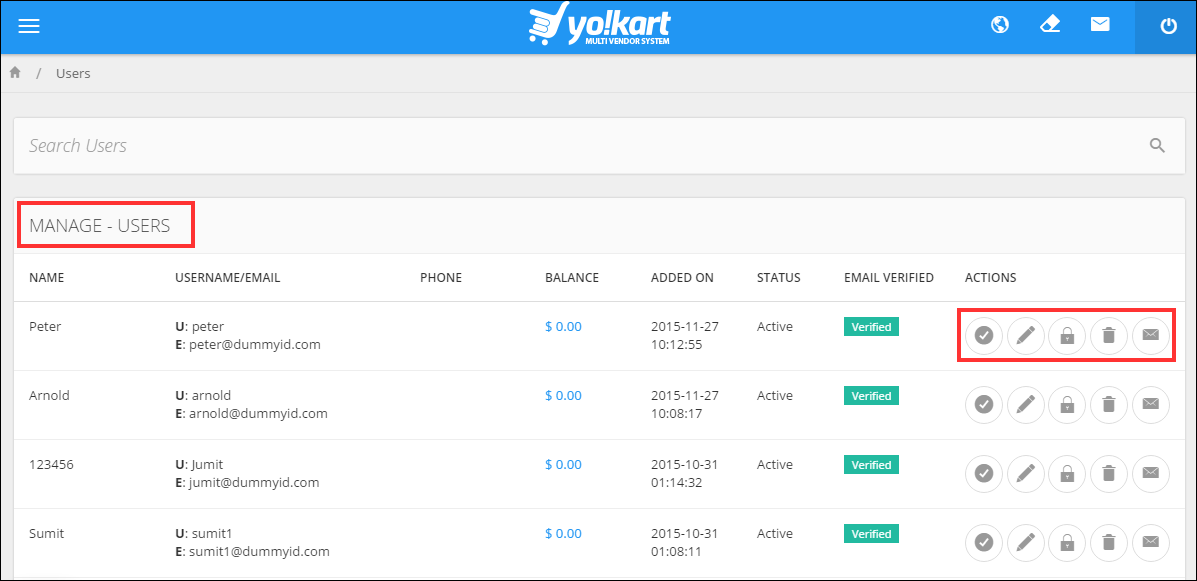 Yokart multi-vendor system user management