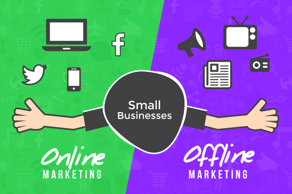 small business online offline marketing