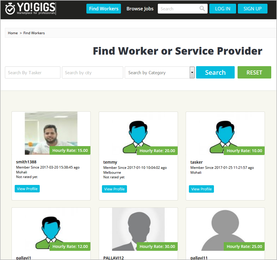 On-demand services marketplace professional listing