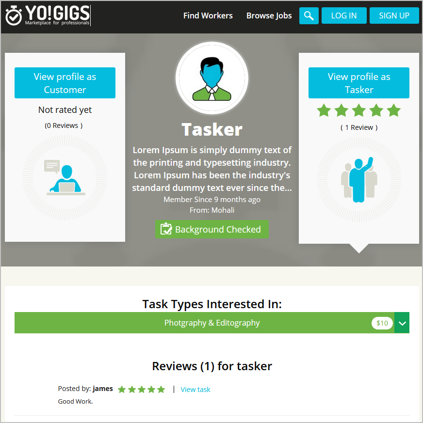 on-demand services portal tasker profile