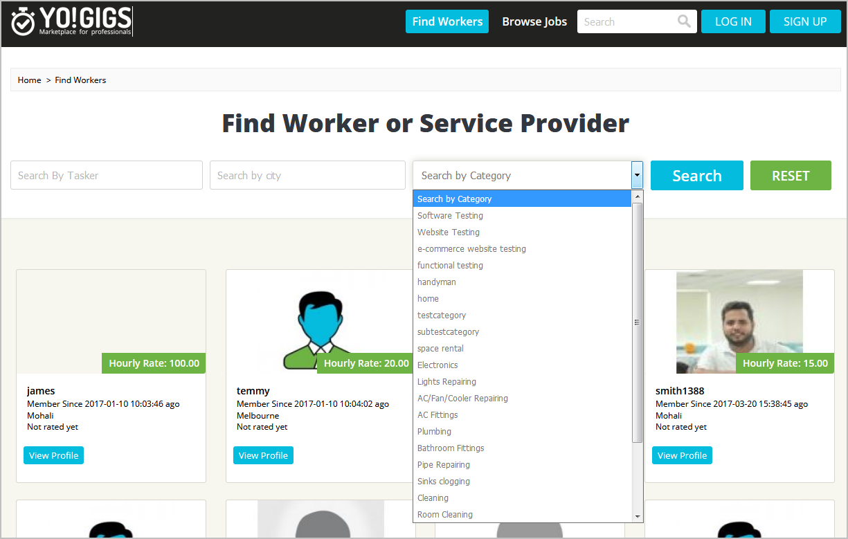 services marketplace categories