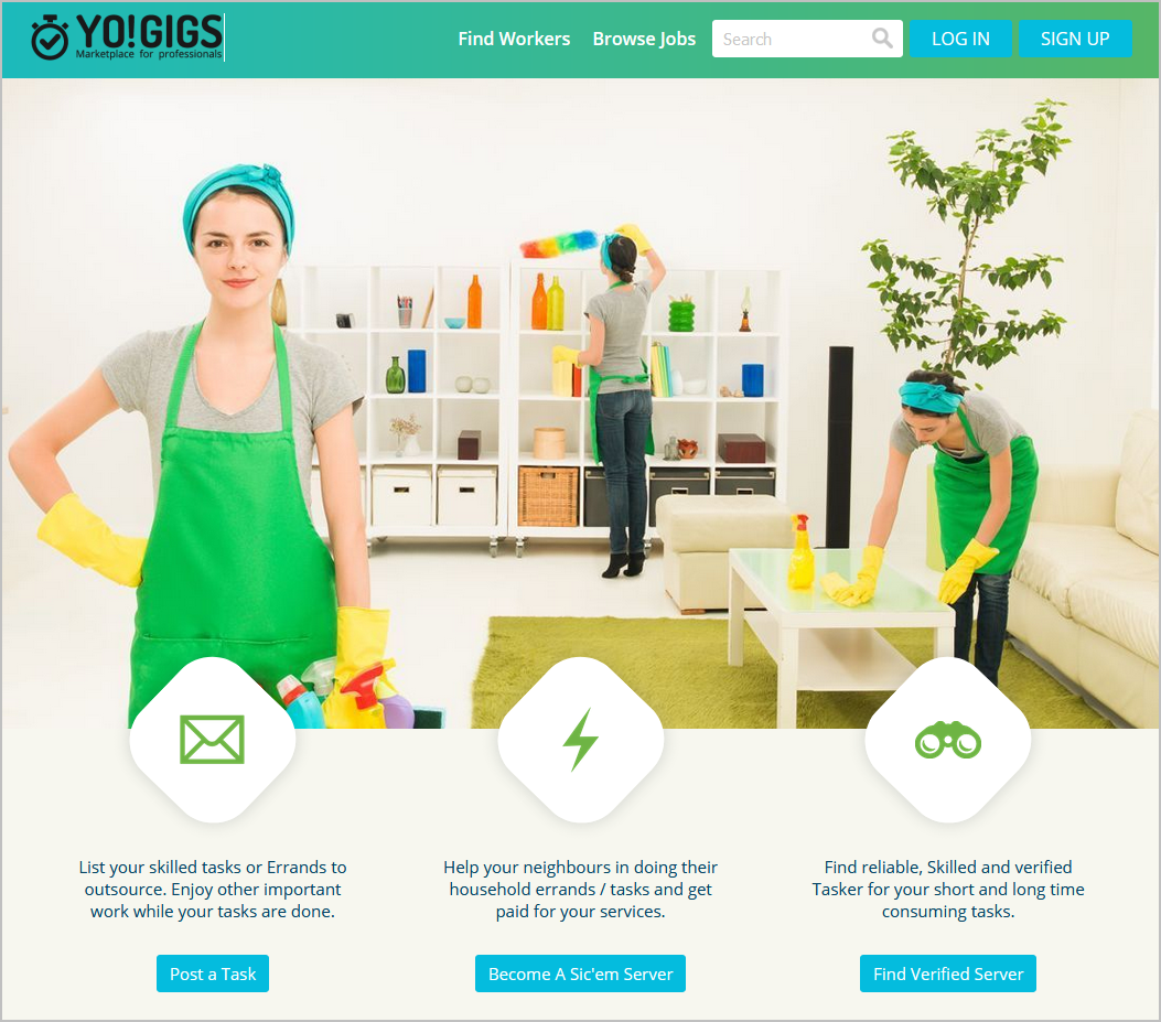 services marketplace homepage