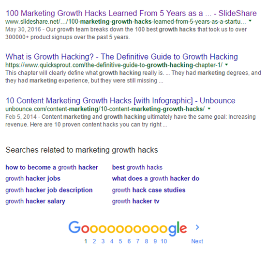 Marketing Growth Hacks Results