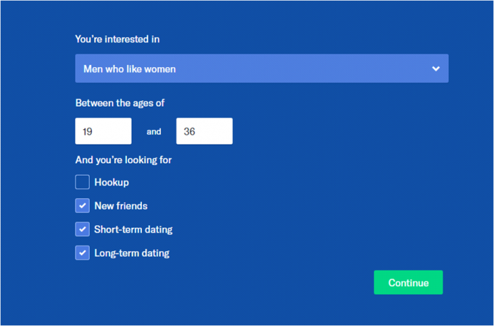 Dating website features