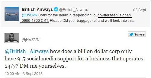 British Airways Twitter post