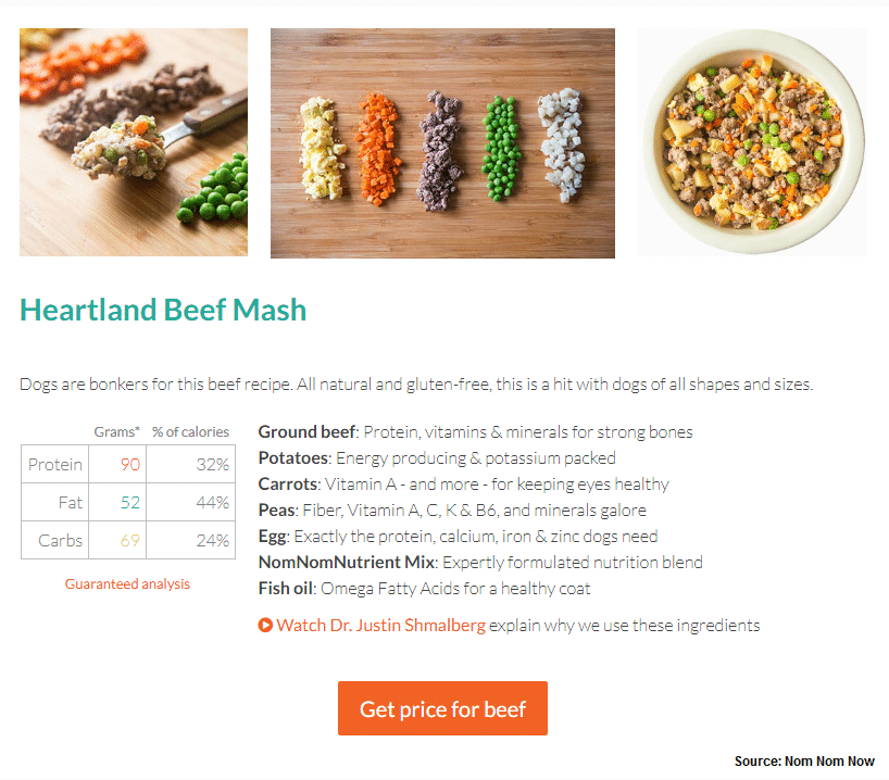 Pet meal recipes