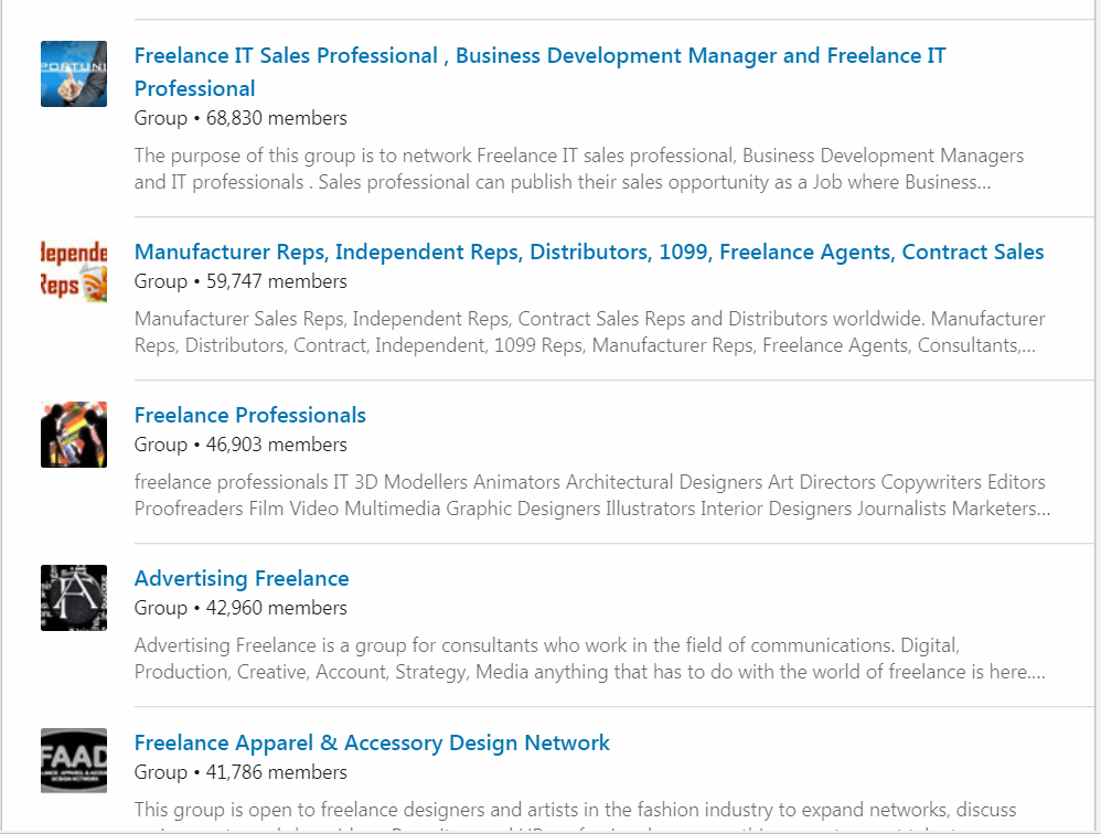 LinkedIn groups for free professionals