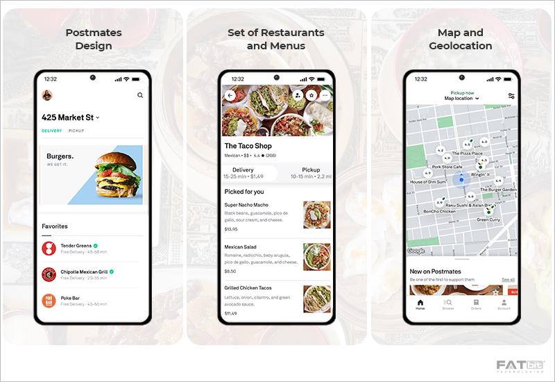 App Functionalities - Postmates Food Delivery App