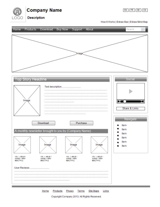 Webpage wireframe